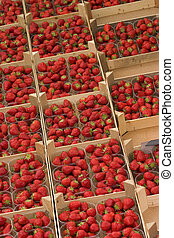 Strawberries - Red juicy strawberries on display at a market
