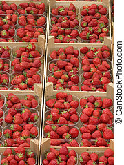 Strawberry baskets - Baskets of strawberry at market