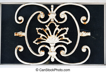 sitges metal - detail of metal work in a door in the town of...