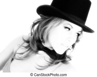 Top Hat Woman - Beautiful young woman in teal formal dress...