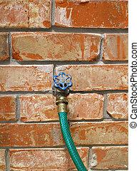 Garden Hose - A green garden hose connected to a faucet on...