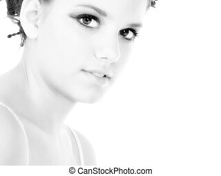 Beautiful Young Woman Close Up - Beautiful young woman close...