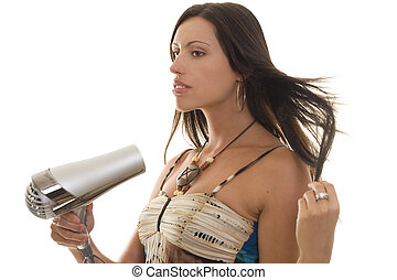 Woman with Hairdryer - Brunette woman with hairdryer getting...