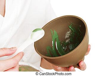 Aloe Vera Facial Detail - Aloe Vera facial in a bowl, ready...