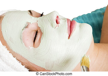 Facial Mask - A detail image of a green apple mask being...
