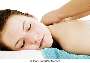 Shoulder Massage - A shoulder massage at a day spa.
