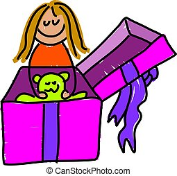 giftbox kid - little girl opening her gift box and pulling...