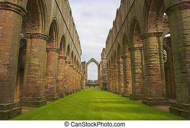 Fountains Abbey - Ruins of Fountains Abbey in Ripon,...