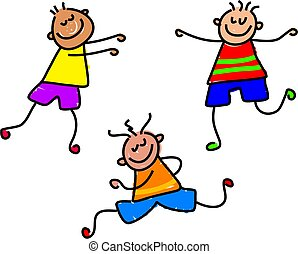 funky kids - little kids full of energy - toddler art
