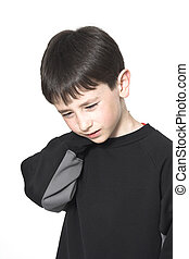 boy neck pain over white