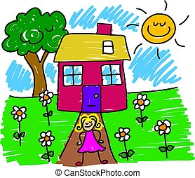 my house - little girl standing proudly outside her home -...