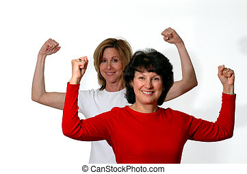 fitness time - two women in exercise mode