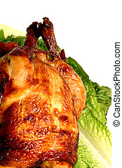 roast chicken on lettuce