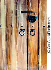Antique padlock - Wooden door