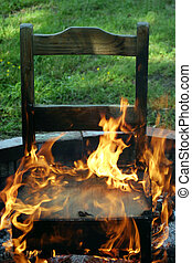 "In The Hot Seat - A chair on fire... metaphor ""In The Hot..."