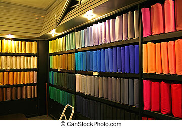 Silk fabric - Racks of multicolored silk fabric