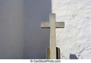 sitges cross - a stone cross in a church in sitges, near...