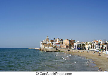 sitges church view - coastal view and the church in the...