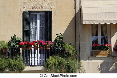 sitges window - pretty window in the town of sitges, near...