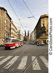 Prague City Detail - A street car travels down the street in...