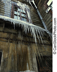 big icicle and old house - big icicle