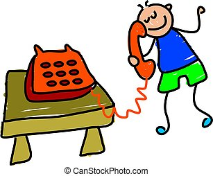 telephone kid - little boy chatting on the telephone -...