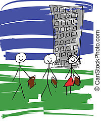 Business Team - image of a child like drawing of a business...