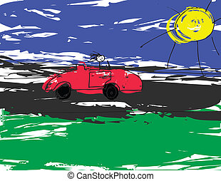Convertable Car - A image of a child like drawing of a...