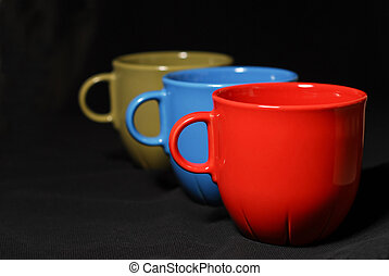 Colorful coffee cups - Three colorful coffee cups