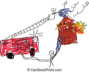 Fireman Image - image of a child like drawing of firemen...