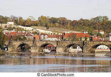 Charles Bridge seen from the river, Prague, Czech Republic.
