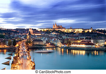 Prague Castle Cityscape - A view of the Prague Castle in the...
