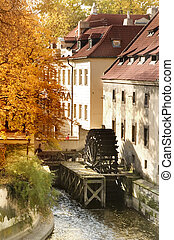 Old Water Mill - A water mill on a river in Prague, Czech...