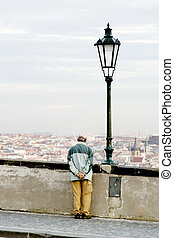 Looking Thinking - Prague, Czech Republic cityscape seen...