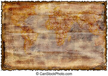 Old burned map texture , template , background for many uses...
