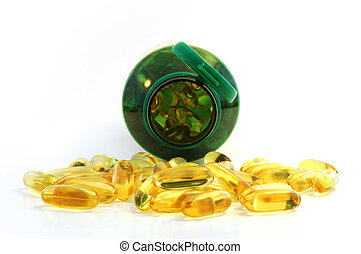 Front close up of fish oil caplet - close up of fish oil +...