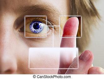 dedo, impresión, iris, exploración