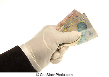 Hand and Pound NotesHand and Pound Notes - White Gloved hand...