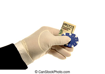 Hand, Money & Poker ChipHand, Money & Poker Chip - White...