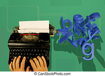 Typewriter and 3d letters - Hands type on an old fashioned...