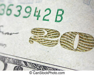 "Twenty Dollar Bill - the number \""20\\\"" depicted on the..."