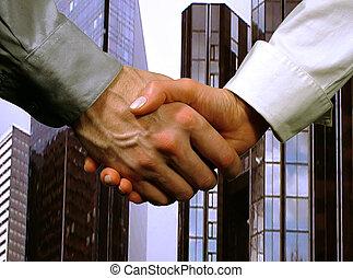 empresa / negocio, apretón de manos, mujer, hombre, (gray,...