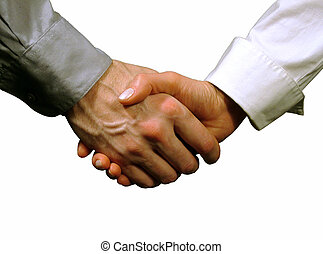 Business handshake ,woman and man gray background - hands ,...