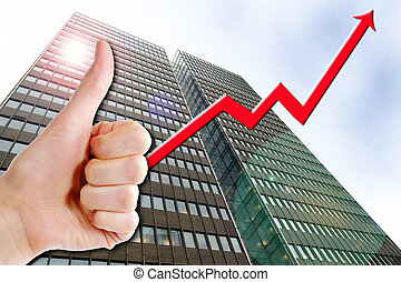 Business Success - A thumbs up with a graph line going up...