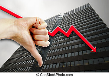 Poor Business - A thumbs down sign with a tall building in...