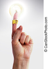 Great Idea - A hand holding up one finger with a light bulb...