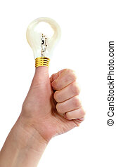 Thumbs Up Idea - A thumb in the air with a light bulb on it....
