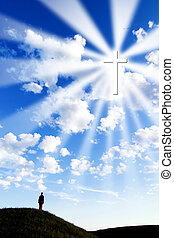 Follow the Cross - A person on a hill looking up to a...