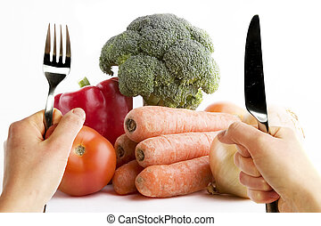 Healthy Living - Group of raw vegetables on a white...