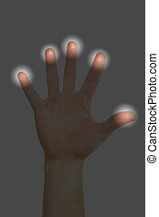 Finger Print Scan - A hand being scanned for finger prints